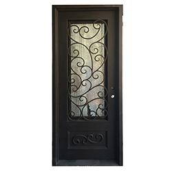 Black left hand inswing 98 x40 flat top exterior doors Grafton exterior wrought iron doors