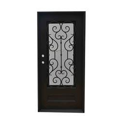 Black right hand inswing 82 x38 flat top exterior doors Grafton exterior wrought iron doors