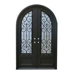 Black right hand inswing 98 x62 round top exterior doors Grafton exterior wrought iron doors